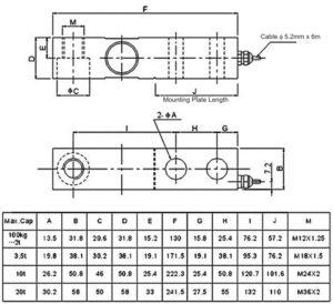 M2428 - Biegebalken - Abmessungen