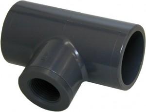 Zubehör: T-Stück PVC D=50mm für Leitwertsonde ¾